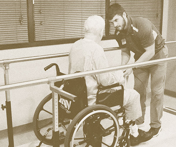 Man in Wheelchair rehabilitation in Southern Illinois Nursing Home