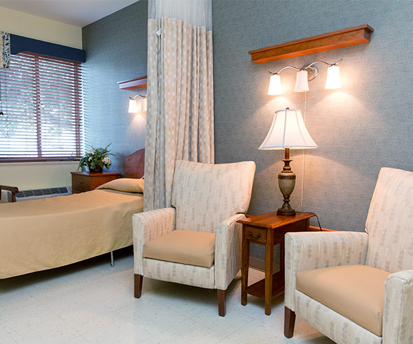 Private nursing room at nursing home in Southern Illinois